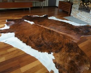 Details About Cow Hide Rug Hair On Brindle White Belly Cowhide Area Rugs
