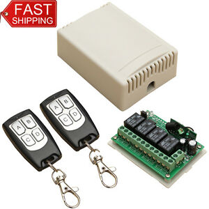 Details about DC12V 4CH 200M Wireless Remote Control Relay Switch 2  Transceiver w/ Receiver WT