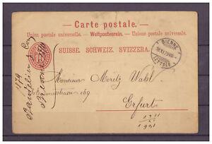 Schweiz-Ganzsache-Biel-Bienne-nach-Erfurt-18-11-1879