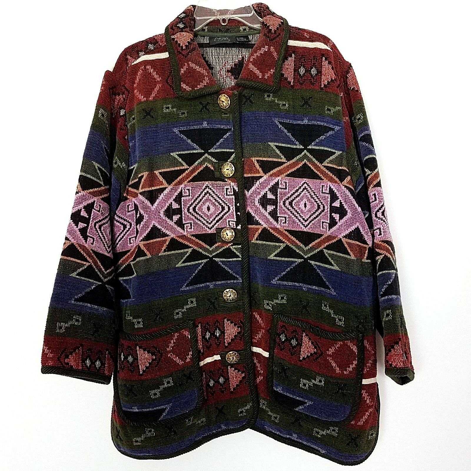 c4c450f2 Agapo Collection Size 1X Long Sleeve Button Front Cotton Southwestern Coat
