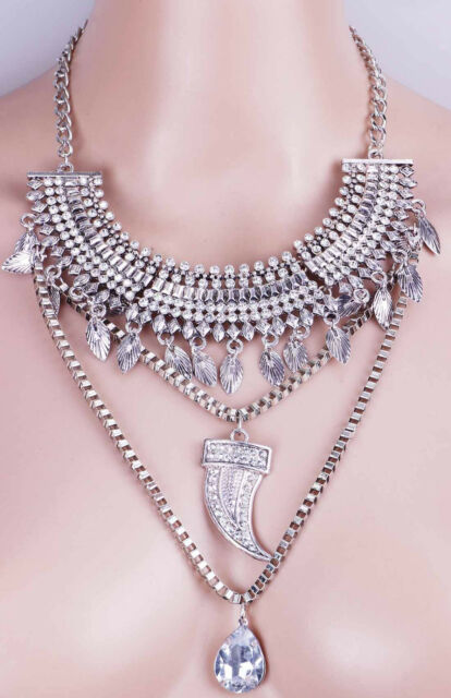 Woman Jewelry Crystal Statement pentand Chain chunky ancient silver Necklaces 45