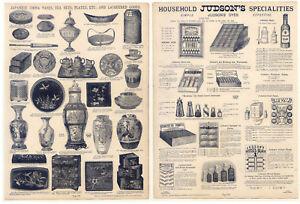 Japan-China-Vasen-Farben-Tinte-Katalog-Holzstich-1890-Lackierte-Gegenstaende