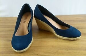 a3cc18bbbe8 Details about Yours Closed Toe Espadrille Wedges Navy Rounded Toe EEE Wide  Fit UK 6 EU 39