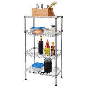 4-Tier Wire Shelving Corner Shelf Rack Storage Organizer Home Kitchen Office