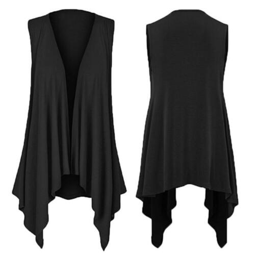 Womens Casuasl Solid Sleeveless Draped Irregular Hem Open Cardigan Top Blouse AU