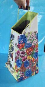Ancien Seau à Charbon Bouquet Décor été Floral Pavot Coquelicot Bleuet Marguerit