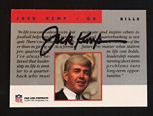 JACK KEMP 1991 PROLINE PORTRAITS CERTIFIED SIGNED AUTOGRAPHED CARD BILLS