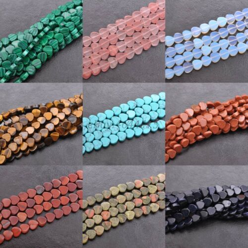 Wholesale 10Pcs Natural Gemstone Heart Spacer Loose Beads 10X10MM