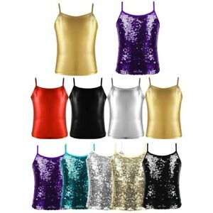 Girls Dance Tops Metallic Camisole Tank Top Stage Performance Dancewear Costume