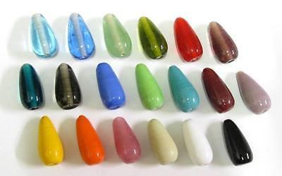 10 Glasperlen Perlen Tropfen 20-23x10-12mm viele Farben zur Auswahl