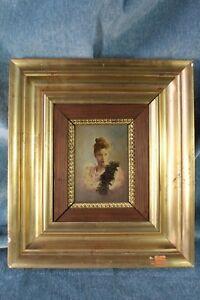GéNéReuse Miniature Oil Bust Woman. Great Quality. S.xx Óleo Miniatura Busto Mujer.