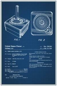 Joystick-Video-Gaming-Official-Patent-Blueprint-Poster-24x36-inch