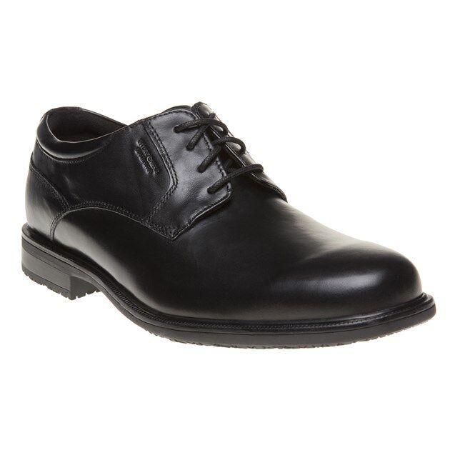 New Mens Rockport Black Essential Detail II plain toe Leather Shoes Flats Lace