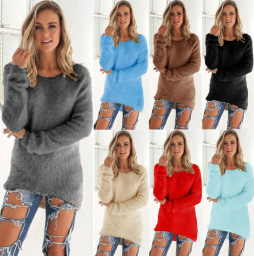 NEW Womens Long Sleeve Knit Sweater O Neck Casual Knitwear Jumper Pullover Tops