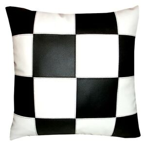 coussin simili cuir damier noir et blanc 40x40cm ebay. Black Bedroom Furniture Sets. Home Design Ideas