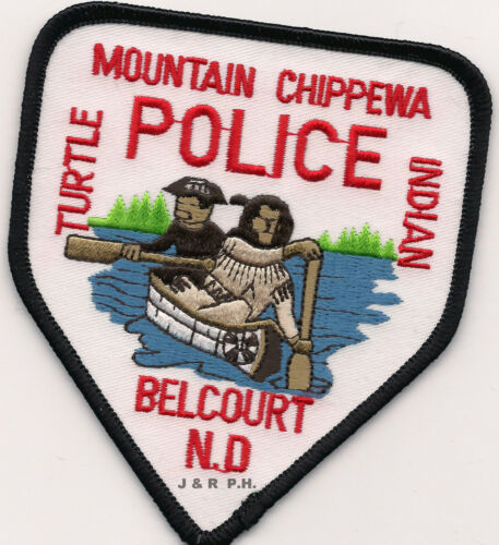 """shoulder police patch Mountain Chippewa // Belcourt ND 3.5/"""" x 4/"""" size fire"""