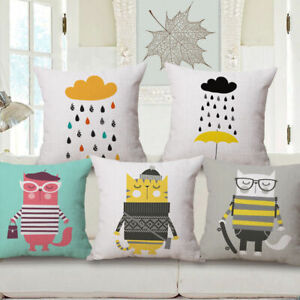 Cotton-Linen-Home-Car-Sofa-Bed-Decor-Waist-Cushion-Pillow-Case-Cover-Cartoon-Cat