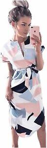 LitBud Womens Midi Dresses Summer V-Neck Short Sleeve, White, Size L[large] Ttbk