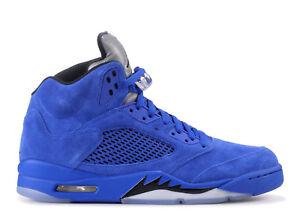 6ce2d8316db357 Air Jordan V Retro 5 Blue Suede Game Royal 136027-401 Size 8-13
