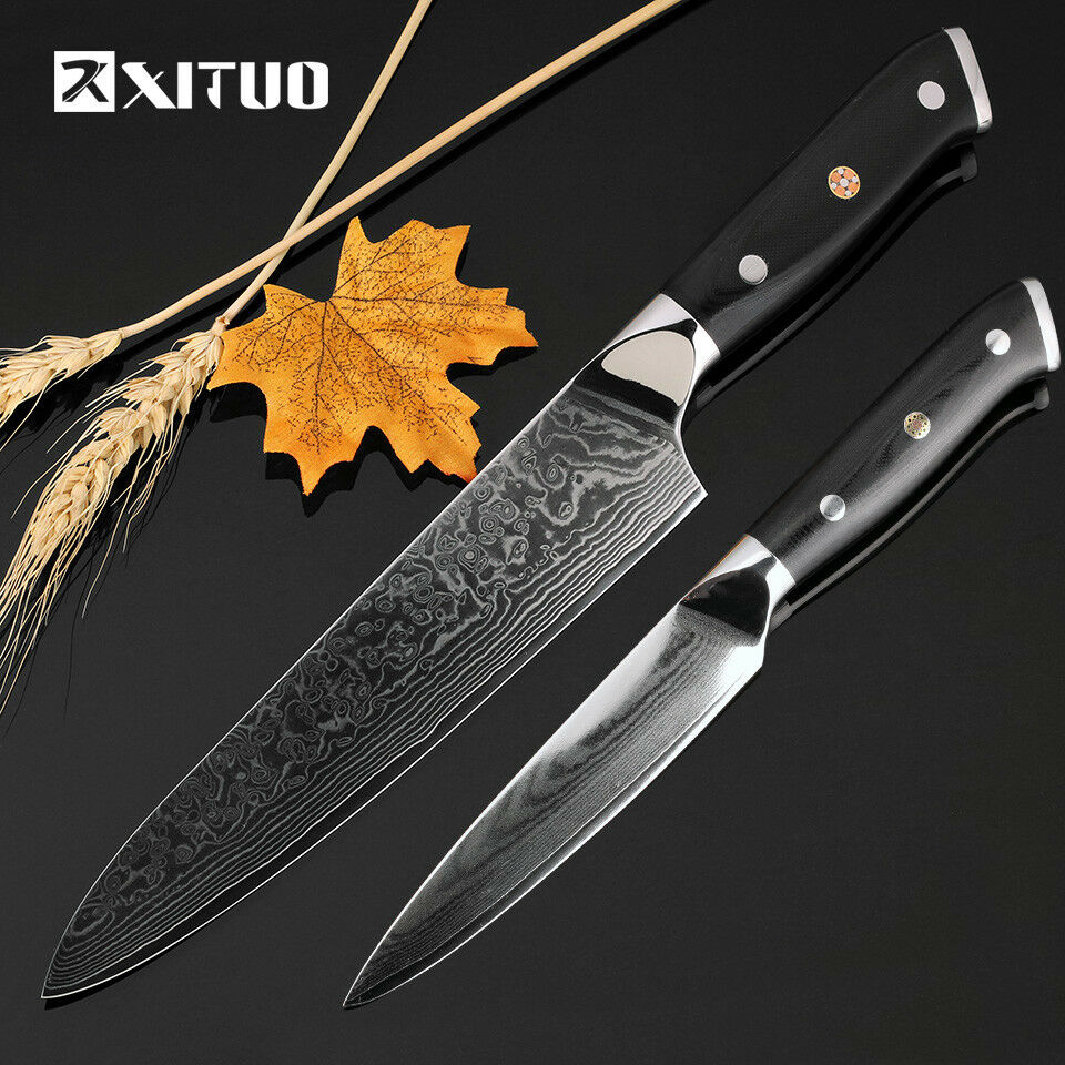 Knife Set 67 Layers Damascus Steel Blade Chef Utility Paring Boning Kitchen Wood