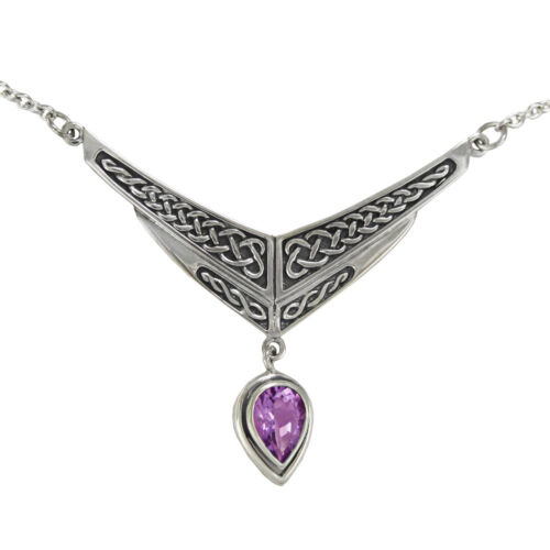 """Celtic Knot Amethyst Drop Sterling Silver Collar Necklace Irish  SS Jewelry 18/"""""""