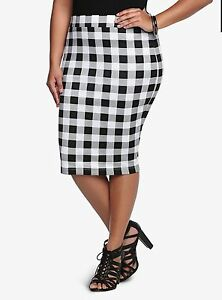 Torrid Skirt Plus Size 0 2 3 4 Checkered Midi Skirt Bottom Pencil ...