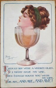 Fred-Spurgin-Artist-Signed-1915-Postcard-Woman-039-s-Head-in-Whiskey-Whisky-Glass