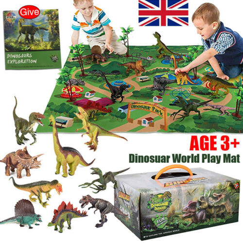 Dinosaur Figure Toys Play Mat /& Trees Educational Realistic Dino World Playset