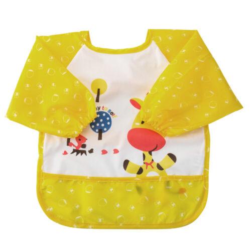 Baby Kids Child Bibs Apron Waterproof Eva Kids Feeding Burp Cloths Long Sleeves