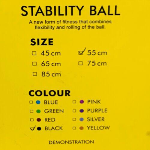 PROMIC stabilité Boule Noir Exercice Fitness 55 cm NEW IN BOX