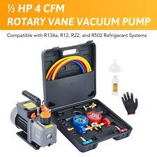 Combo 4 Cfm 13hp Air Vacuum Pump Hvac R134a Kit Ac Ac Manifold Gauge Set Us