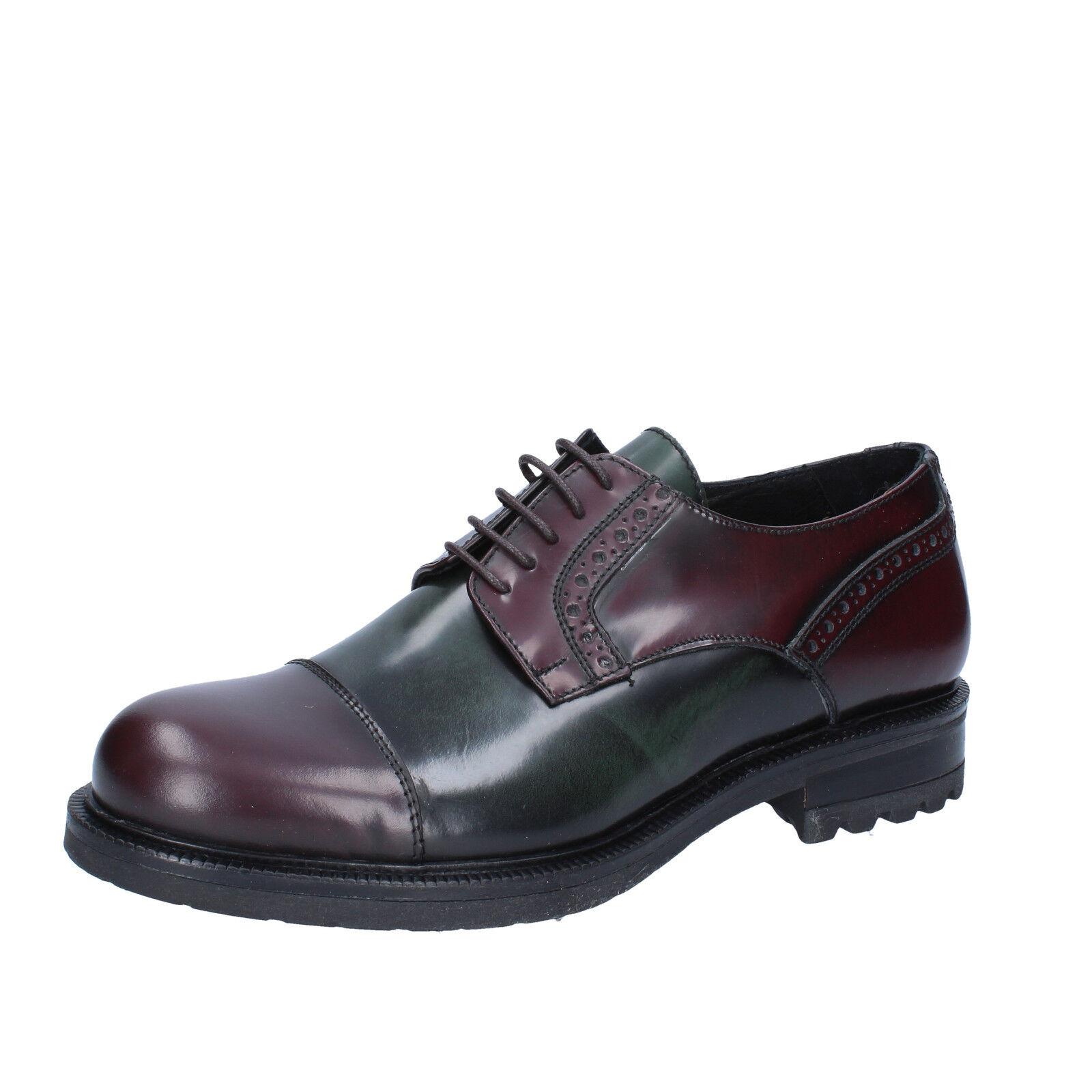 Mens shoes SALVO BARONE 10 (EU 44) elegant burgundy green shiny leather BZ186-F