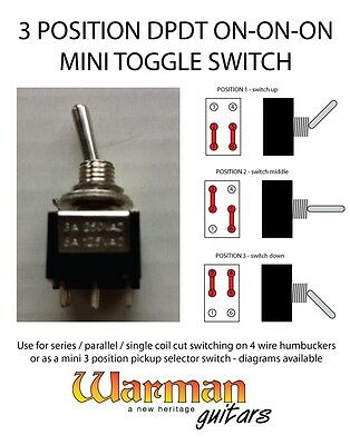 dpdt 3 position on-on-on mini toggle guitar switch, from warman guitars |  ebay