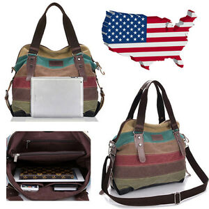4b7feb22a7 Image is loading Women-Canvas-Striped-Crossbody-Bags-Vintage-Contrast-Color-