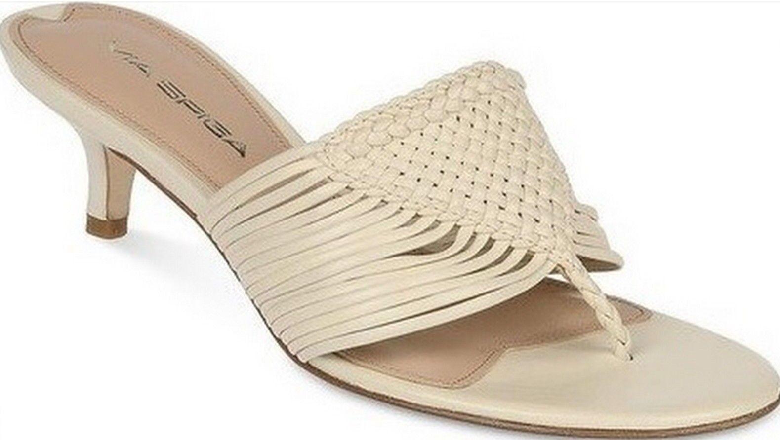 Via Spiga Dusty Thong Light Cream Velvet Sandales Schuhes 10