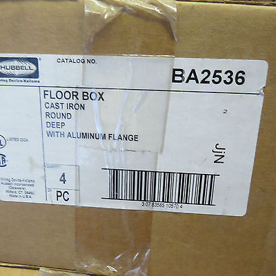 Hubbell HBLCFB401CB Cast Iron 4-Gang Shallow Recessed Concrete Floor Box F-box