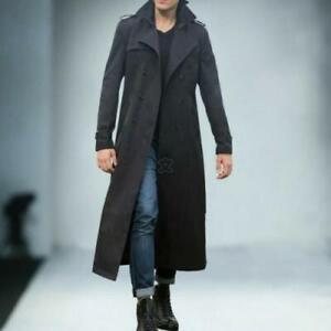 Men;s Long Blazer Trench Duster Coat Outwear Overcoat Long Sleeve Button Jacket