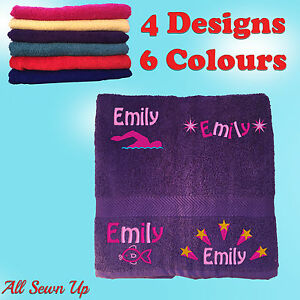Embroidered Personalised Swimming or Sports Towel.  Ideal kids gift