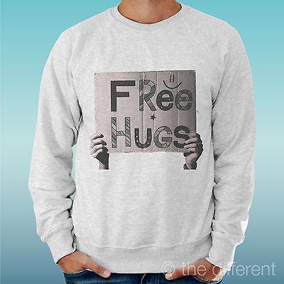 "FELPA UOMO LEGGERA SWEATER GRIGIO CHIARO GREY  "" FREE HUGS "" ROAD TO HAPPINESS"
