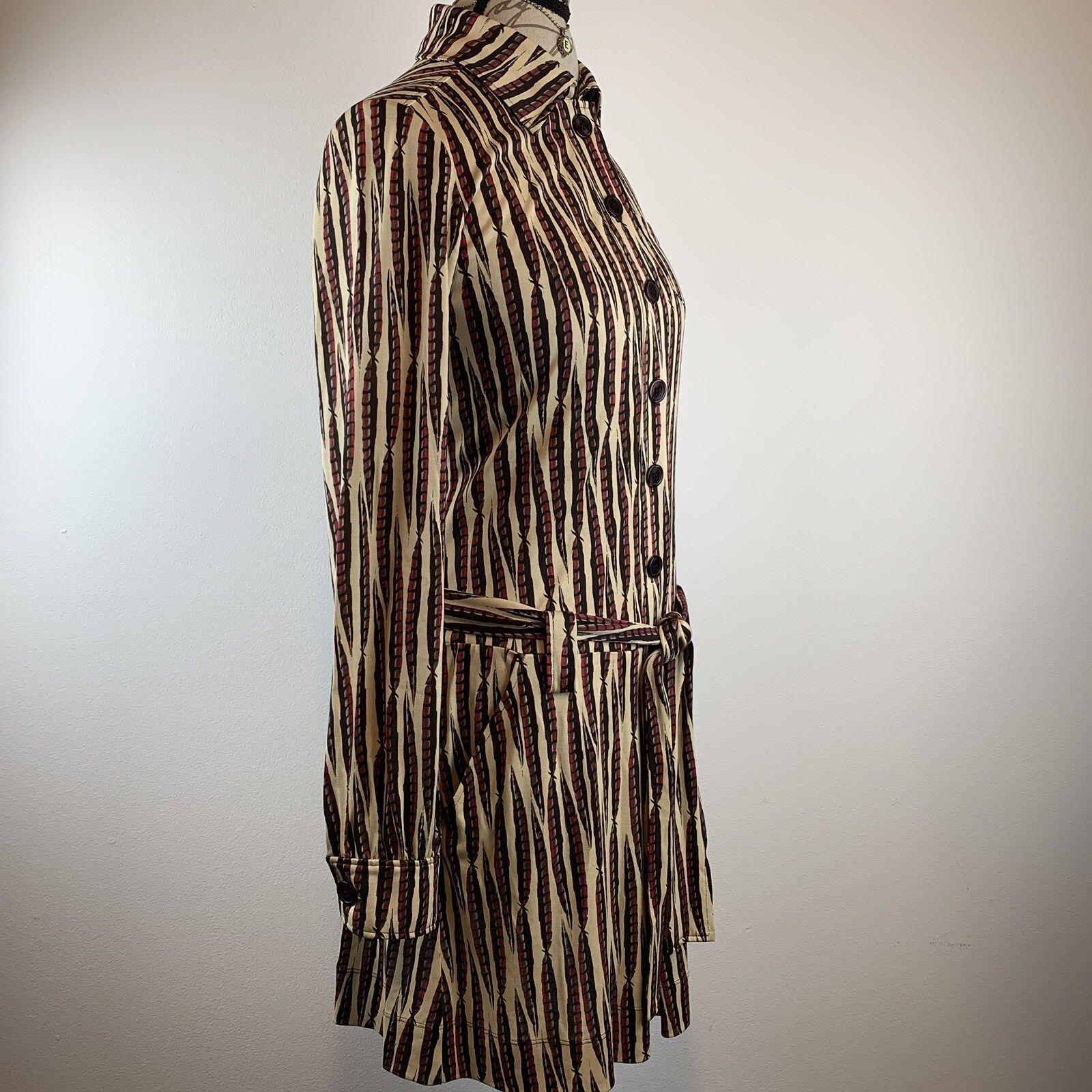 Diane Von Furstenberg Womens Sheena Sheena Sheena Silk Dress Long Sleeve Feather Print Size 8 dfd758