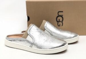 56c23410856 Details about Ugg Australia Women's LUCI METALLIC Silver 1096354 Casual  Slip On Slide Shoe