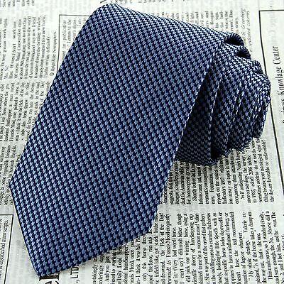 Classic Men's Navy Blue Floral Tie Wedding Necktie 100% Silk Jacquard Woven