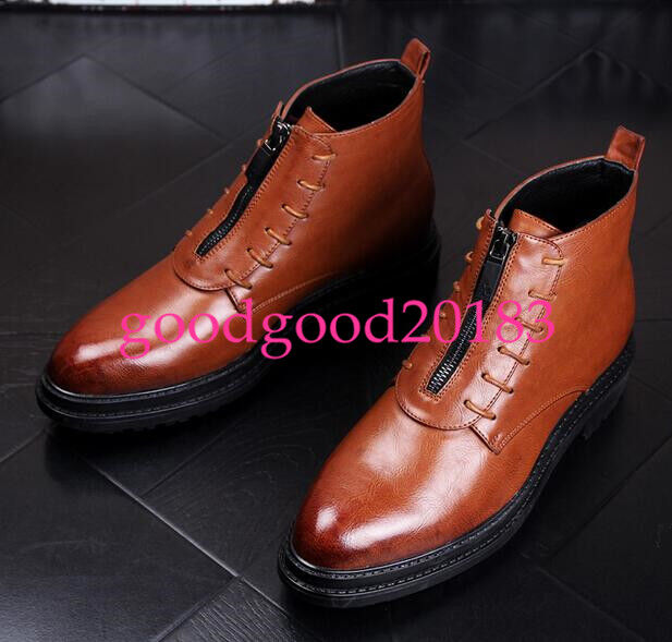 Vogue men's high top faux leather ankle boots zipper casual shoes creepers size