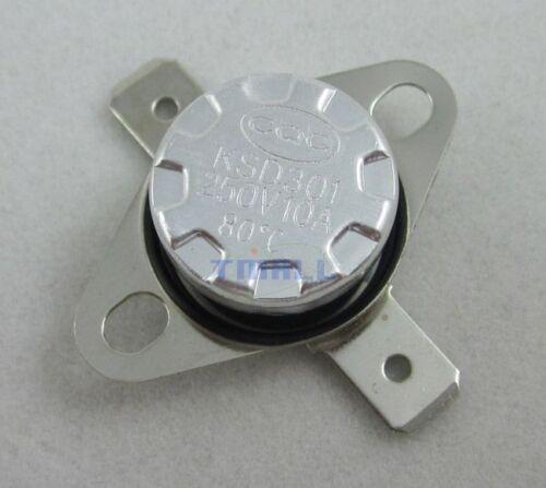 5pcs KSD301 80C 176°F Thermostat Normal Open NO Temperature Control Switch 10A