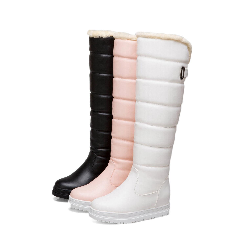Winter Warm Women's Waterproof Pull On Knee High Boots shoes Fleece Fur Lining