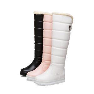 Women Boots Ladies Winter Long Snow Bootie Knee High Boot Pull Fleece Warm