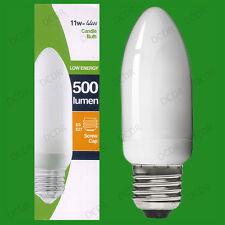 6x 11W Risparmio Energetico Basso Consumo CFL Lampadine A Candela ES, E27 Edison