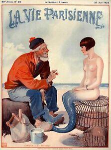 1925 La vie parisienne pêcheur et sirène France Voyage advertisement Print