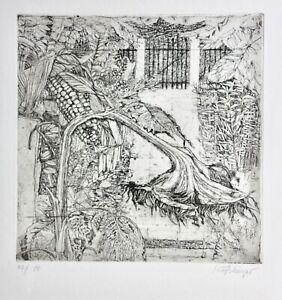 Ernst-Koesslinger-geb-1926-signierte-Radierung-034-Garten-im-Herbst-034-Sonnenblume
