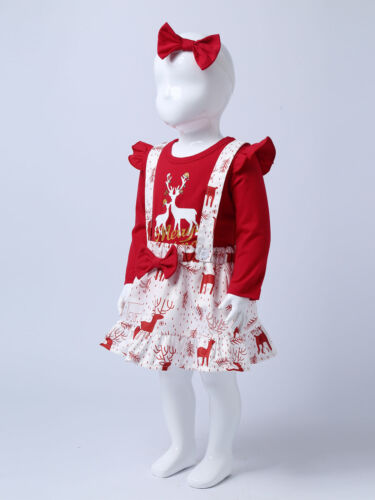Details about  /3Pcs Baby Girls Christmas Costume Outfit Long Sleeve Elk Pattern Suspender Skirt
